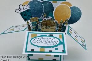 Box Card 31 Balloons cake and candles